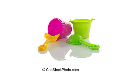 beach bucket tools - play tools for the beach isolated on...