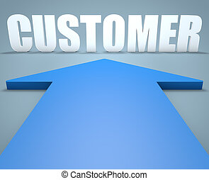 Customer - 3d render concept of blue arrow pointing to text