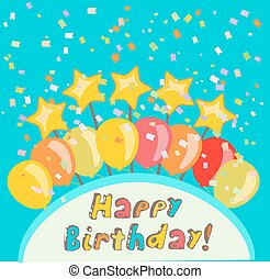 happy birthday illustration with confetti and balloons