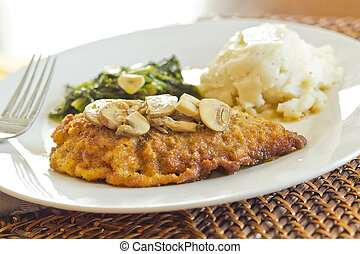 Chicken Marsala - Crispy breaded chicken marsala with mashed...