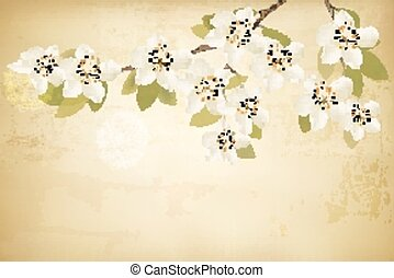 Spring branches with flowers on vintage background. Vector.