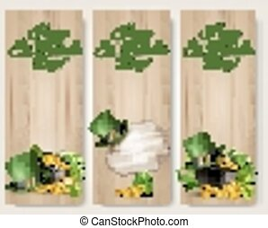 Three Saint Patrick's Day banners with lover leaves, green...