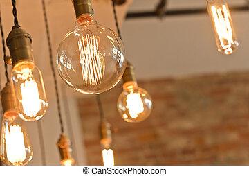 antigüedad, luz, bombillas,