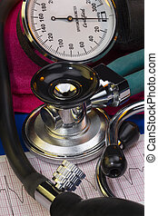 Blood Pressure - Sphygmomanometer and stethoscope - used to...