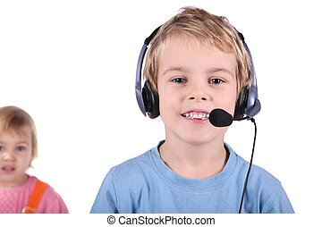 boy in headset with girl isolated on white