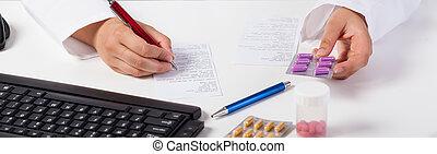 Pharmacist selling violet pills