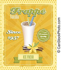 Vanilla frappe poster with drinking strew and glass in retro...