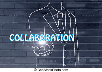 business man handing out the word Collaboration