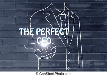 business man handing out the word Perfect CEO