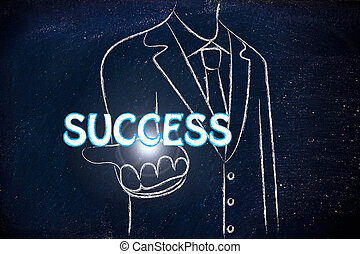 business man handing out the word Success