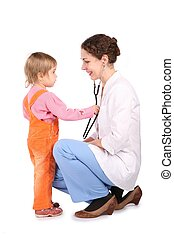 woman doktor and child isolated on white