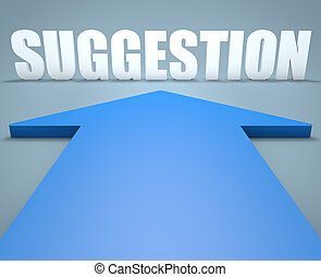 Suggestion - 3d render concept of blue arrow pointing to...