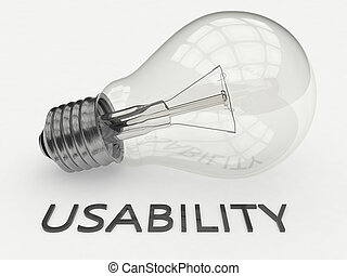 Usability - lightbulb on white background with text under it...