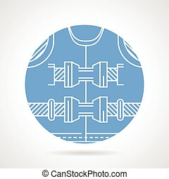 Round blue vector icon for lifejacket - Circle blue flat...