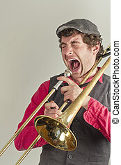 Trombone Musician Yelling - Jazz musician has had enough of...