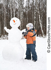 Menino, faz, boneco neve