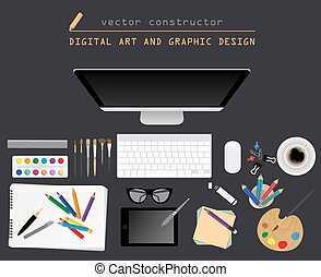 Digital art and graphic design. Working place in flat...