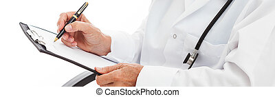 Doctor's hands noting - Doctor's hands holding clipboard and...
