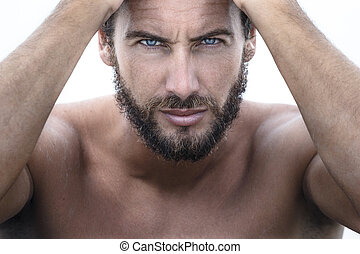 Confident Handsome Man looking at camera - Close up Portrait...