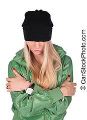 hip-hop girl crossed hands