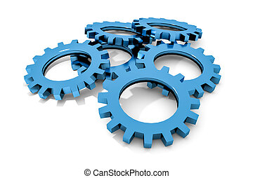 stack of blue colored metallic cogwheels on white surface...
