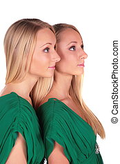 Twin girls sideview