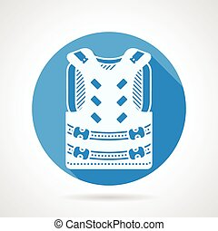 Paintball vest round vector icon - Round flat blue vector...