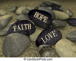 3d pebble on sand message love faith hope - 3d rendering of...