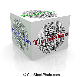 3d cube word tags wordcloud of thanks - 3d rendering of cube...