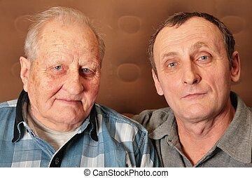 dos, anciano, hombres