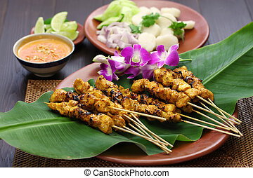 chicken satay, indonesian cuisine - chicken satay, sate ayam...
