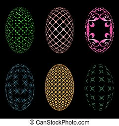 Easter eggs on a black background - Illustration of six...