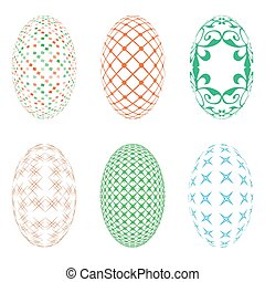 Easter eggs on a white background - Illustration of six...