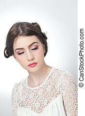 Girl with eyes makeup - Hairstyle and make up - beautiful...