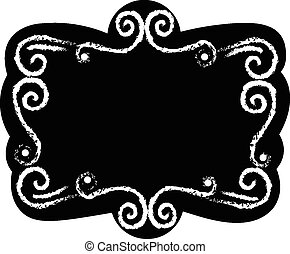 Black chalk board template vintage frame with blank space...