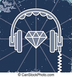 auriculares, joya, icono,