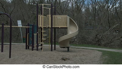 Childrens playground in a park in Guelph, Ontario, Canada