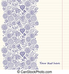 Lined paper - Vintage romantic background with hearts and...