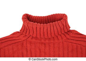 suéter, cuello, rojo