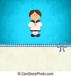 First Communion invitation, boy sailor suit
