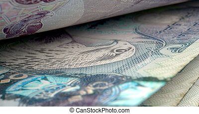 Separated Banknotes Close-up Detail - A macro close-up view...