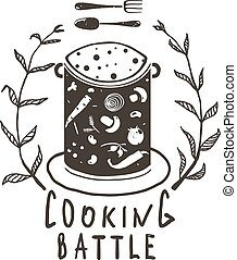 Cooking Battle Sign with Laurel and Label Monochrome Design