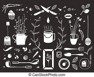 Kitchen Food and Drinking Tea Cosy Design Elements on Black...