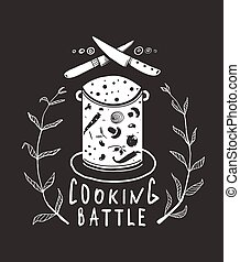 Cooking Battle Sign and Label Monochrome Design on Black -...