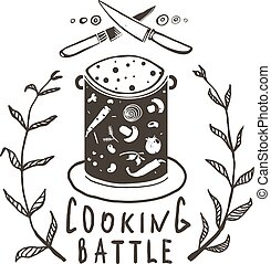 Cooking Battle Sign and Label Monochrome Design - One color...