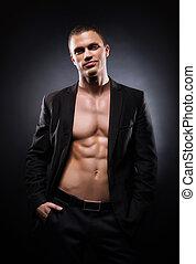 sterke, passen, en, Sportief, Stripper, man, op, black,...