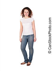 Young woman posing full body isolated