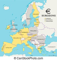 Eurozone Countries Map - Eurozone countries map with...