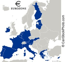 Eurozone Countries Outline - Eurozone countries outline map...