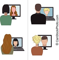 Two pair having a video chat - Illustration of two pair...